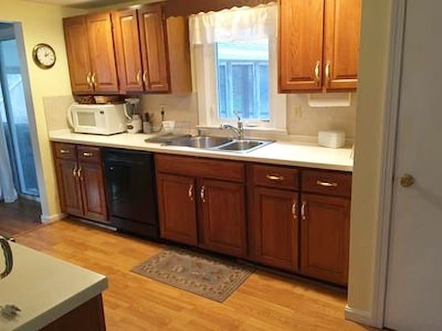 Kitchen is fully equipped should you choose to cook! Closet in kitchen houses the washer and dryer.