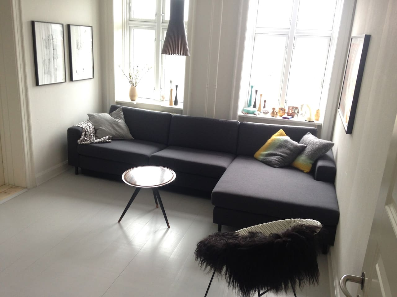 Living room with a double sofa bed