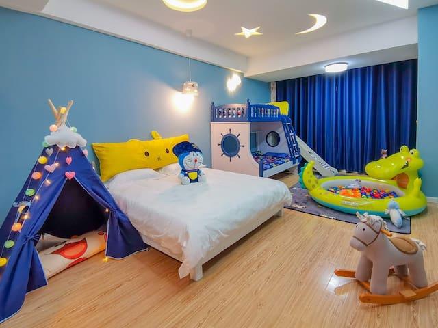 【雁栖沙洲】市中心 童趣亲子房/滑梯/泡泡球池/小帐篷/特色美食街