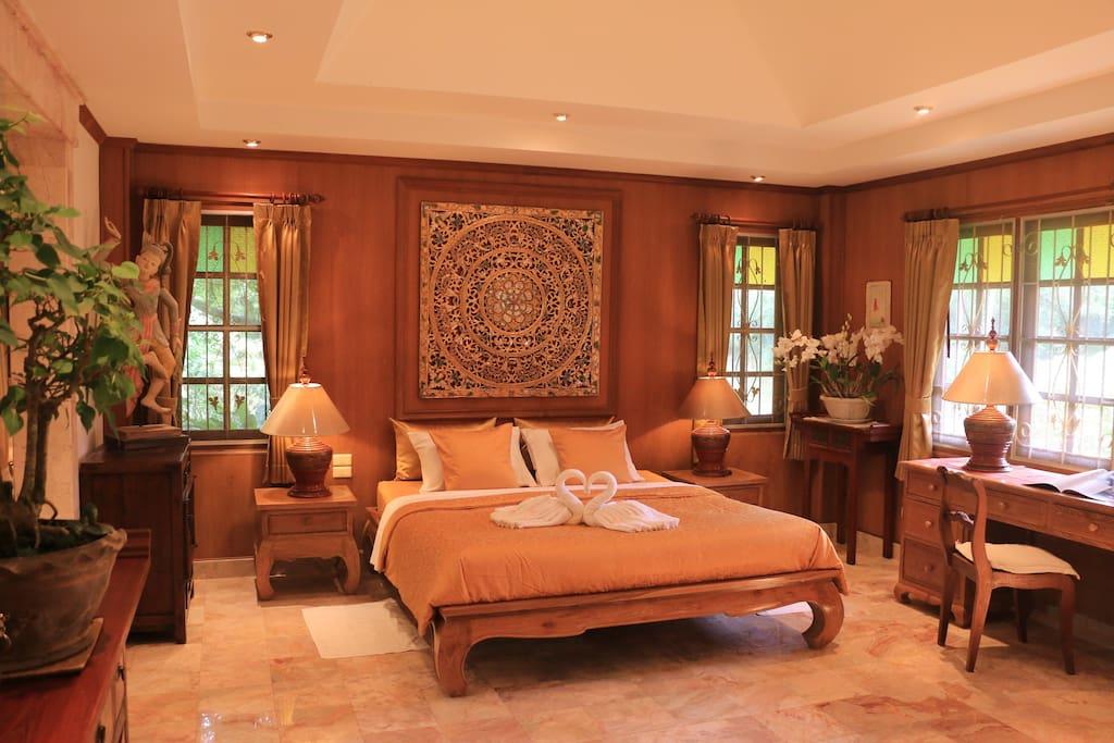 The luxury master bedroom
