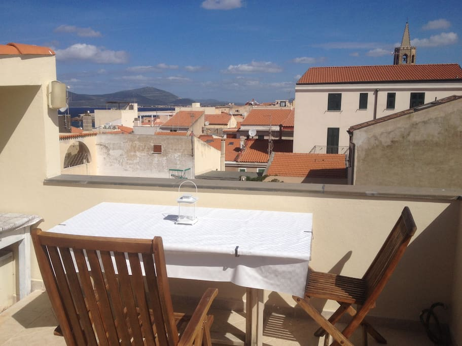 Private terrace with see view on Alghero Gulf.