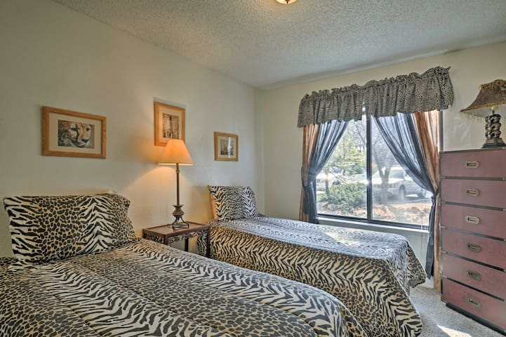 Cheetah/Zebra-themed decor adorns the second bedroom.