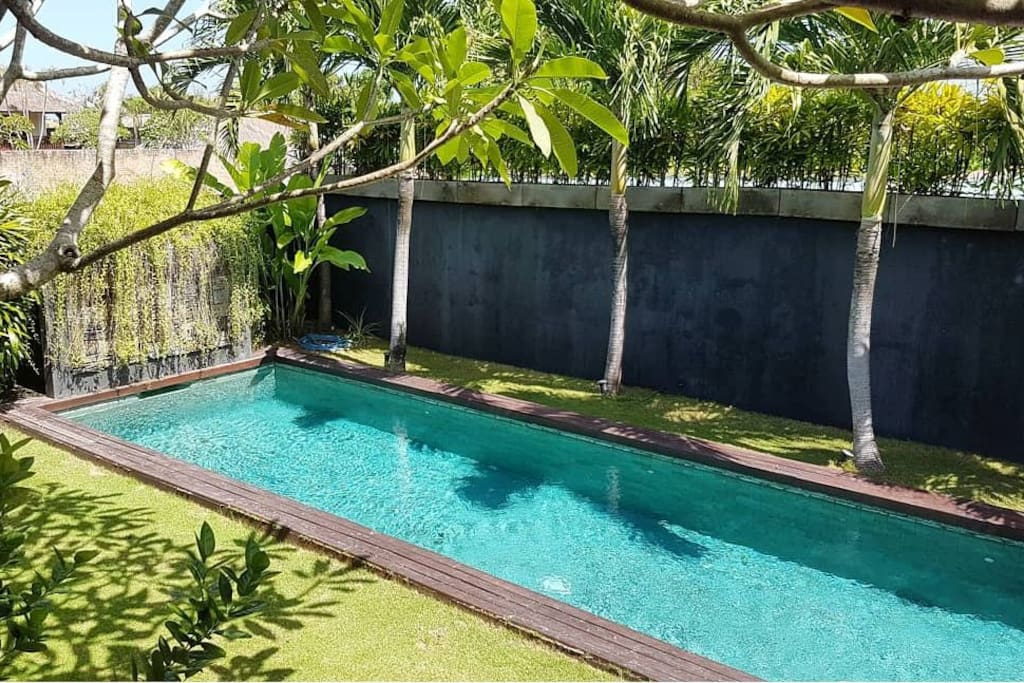 View of the 12x3 private pool from the deck of the living area