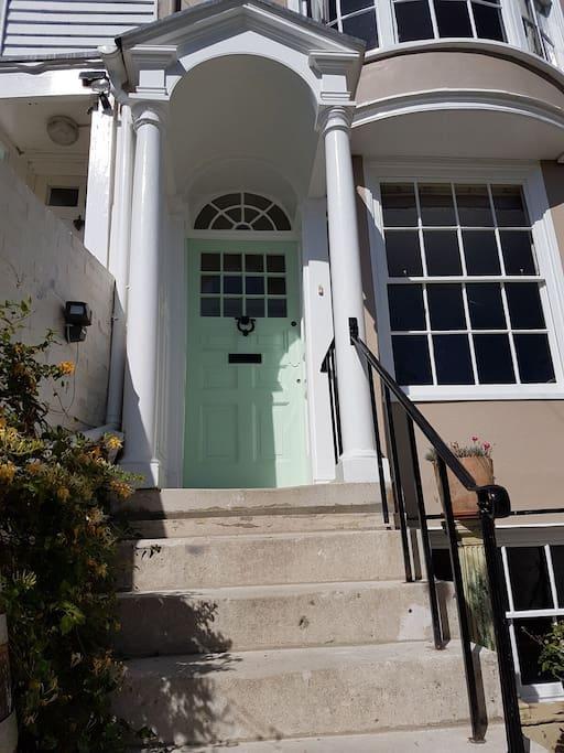 Front door - painted in 'seaspray green'!