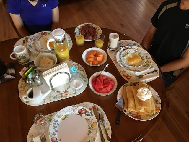 Breakfast Menu is in the Guidebook under New Harmony in food scene.