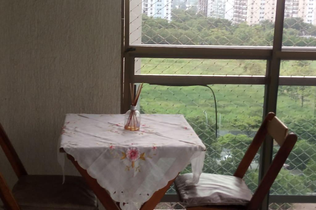 Varanda com rede de proteção e tela mosquiteira.