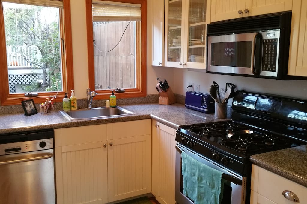 Kitchen with a garden view