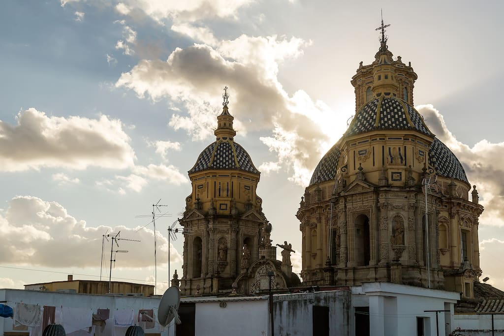 View from the terrace. San Luis is one of the finest baroque churches in Europe.