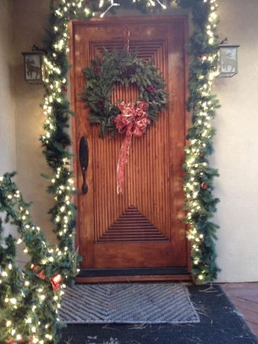 Front Door Decorated For Christmas