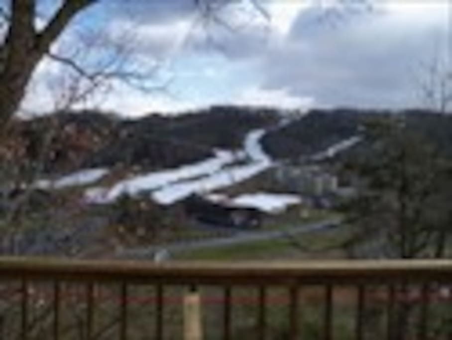 The view of the ski slopes