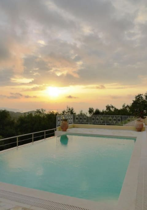 Private infinity pool at sunset