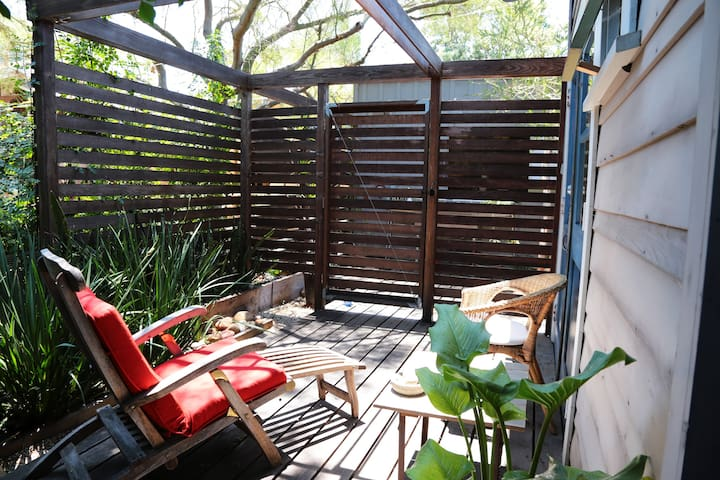 the fenced-in deck for privacy