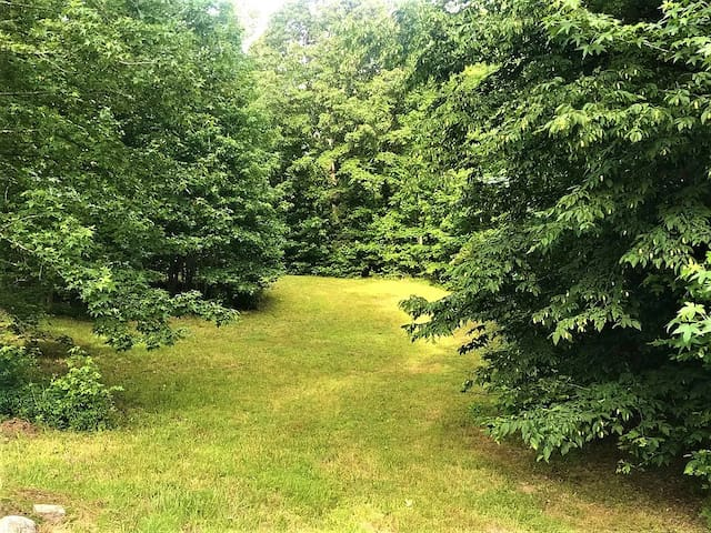 2 acres all to yourself.  Forest on 3 sides, all wooded, no traffic.  Just slip out quietly with your morning coffee and watch the birds at the feeders, you'll even see some deer most likely.  Safe, mowed, maintained, family area.
