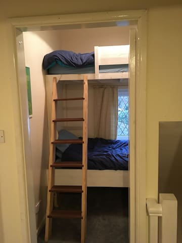 The bunk room to the rear of the cottage.