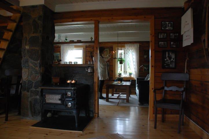 100 Years Old Norwegian Log House at Holemark Farm - Tromsø - 別荘