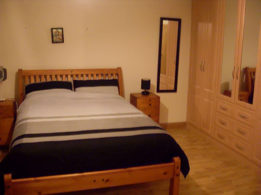 Proper beds with plenty of wardrobes. Tea/Coffee/Hairdryer/