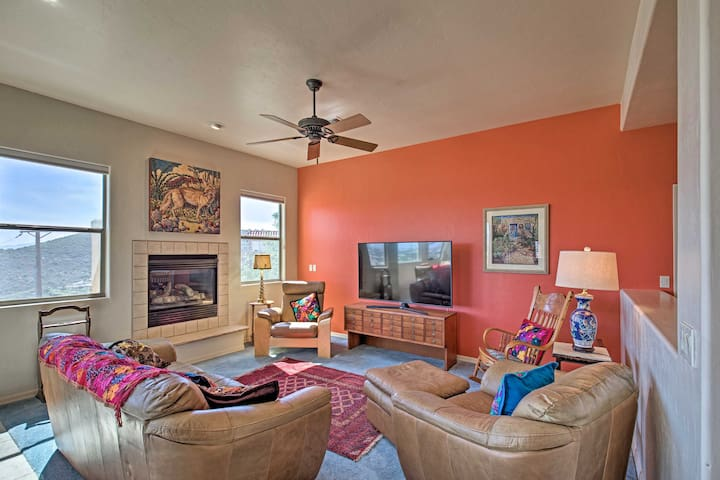 Cozy up by the fire and watch family favorites on the flat-screen TV.