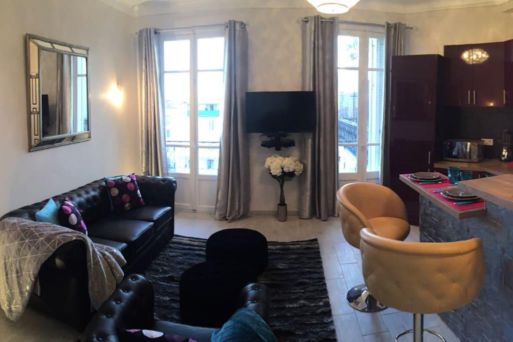 Salon confortable canapé et fauteuil Chesterfiel, TV et Dvd