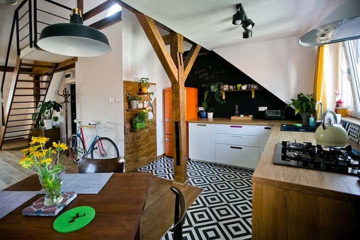 6m-high bright colourful ATTIC LOFT in the center