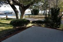 Large Front porch facing marina