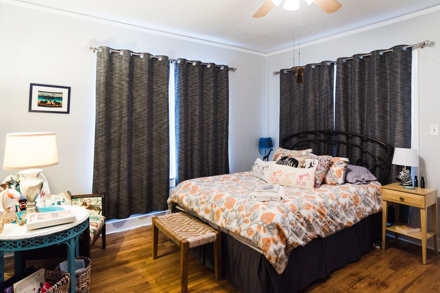 Spacious room with private entrance from the porch. This room features a queen bed, reading nook, desk, luggage rack, and full closet with set of drawers.