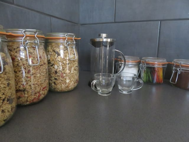 A selection of cereals, teas or coffee.