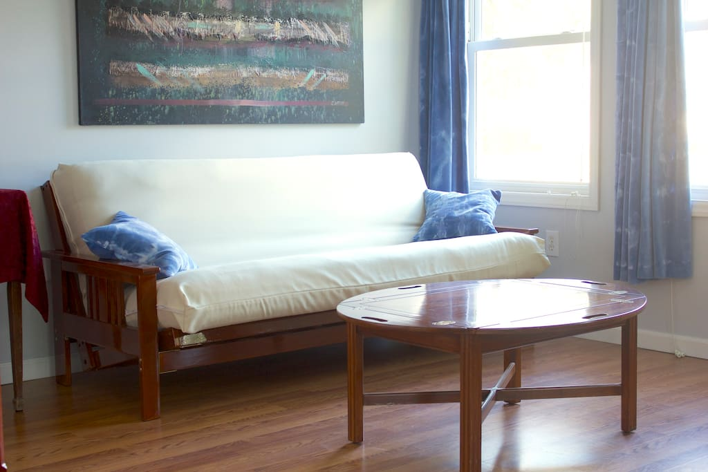 Futon couch lays flat into a second full size bed if needed.