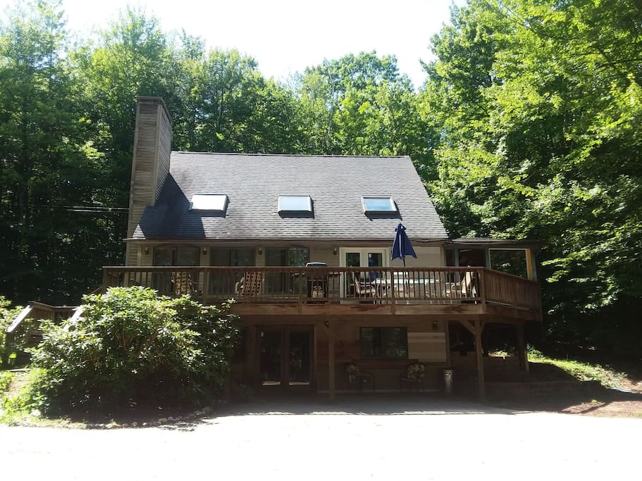 Front of our home. Nestled in the woods. Private sanctuary.