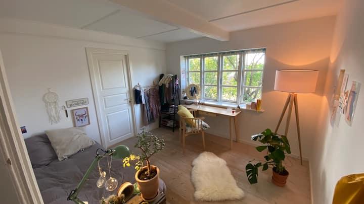 Soveværelse og stue med brændeovn og terrasse