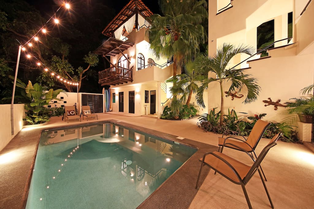 10ft. x 20 ft. heated saltwater pool with built in benches and shallow end