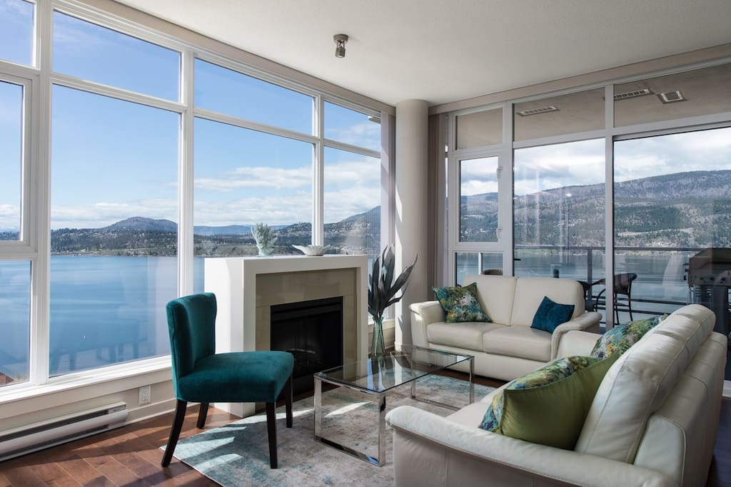 Living room with spectacular view of Lake Okanagan