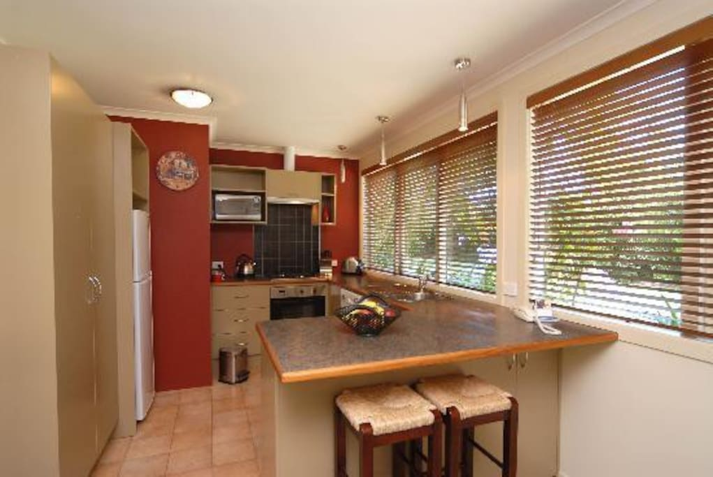 Full size kitchen with lovely garden outlook