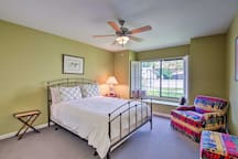The second bedroom is home to a queen-sized bed.