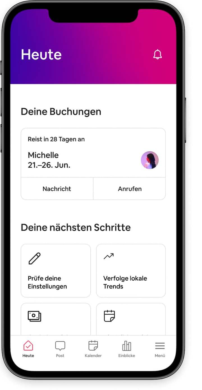 Tools zur Verwaltung von Inseraten und anstehenden Buchungen in der Airbnb-App