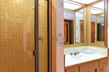 The guest bathroom is perfect for visitors, giving everyone more than enough space