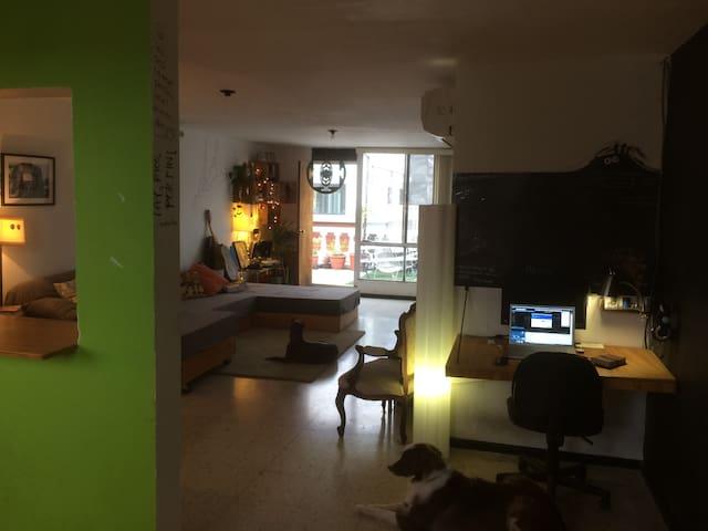 Area de trabajo, con monitor extra y video proyector.