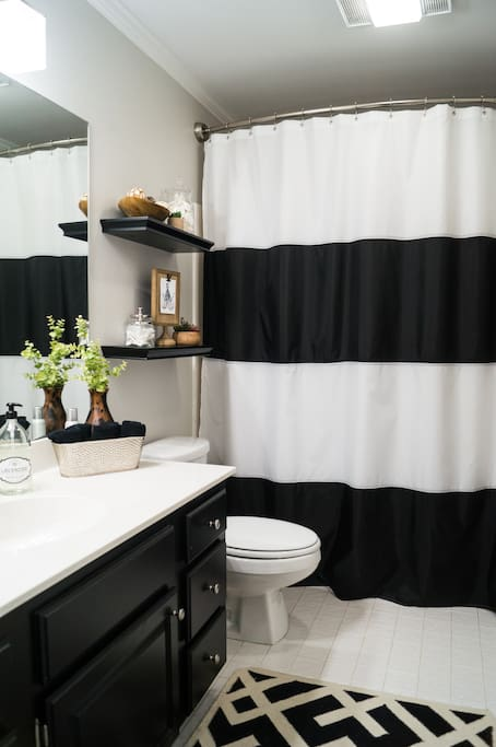 Your private bathroom has a full shower and plenty of counter space.
