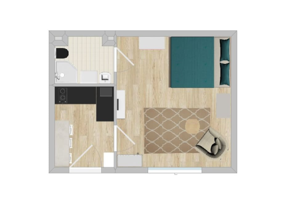 Floorplan of the 26m2 studio. The bed is 140x200 cm. The couch is a pull out couch, can be opened as a bed for 1 more person (90x200cm)