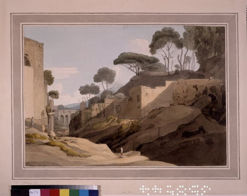 "the street we live, 250 y.a. ""coming down from Capodimonte"", 1781 Francis Towne , British Museum"