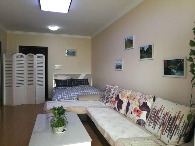 2卧室长方形28平米,寒沙发书桌等