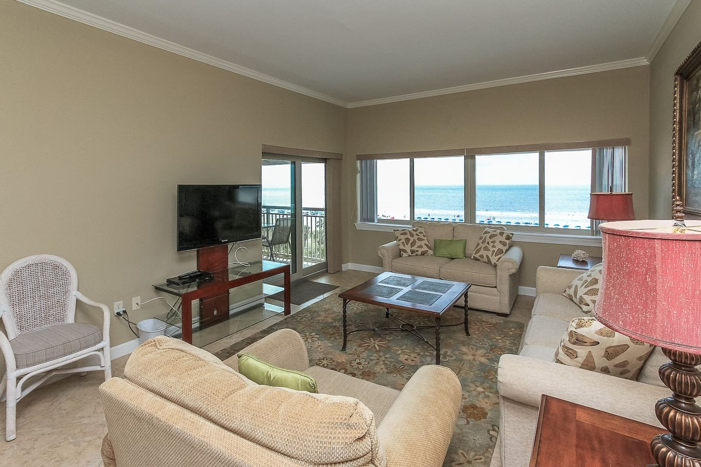 Living Room with Ocean Front Views at 453 Captains Walk