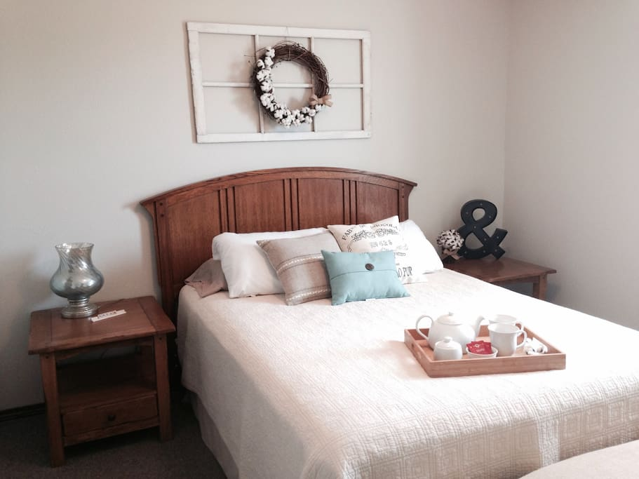 Our Cotton-themed Master bedroom with Queen bed.