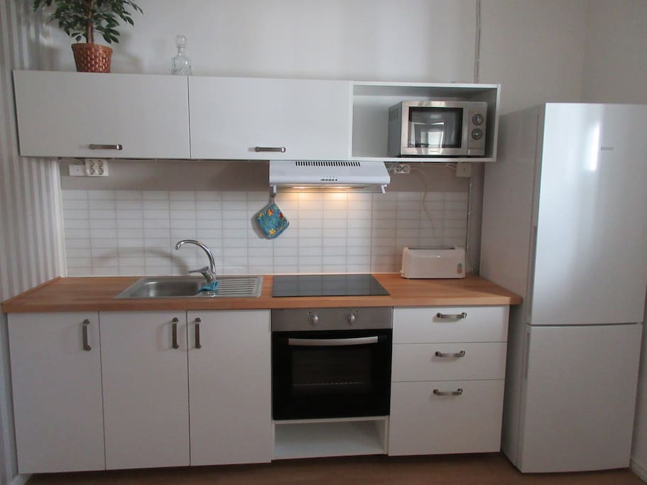 Kitchen with most accessories & microwave oven -Fridge and freezer.