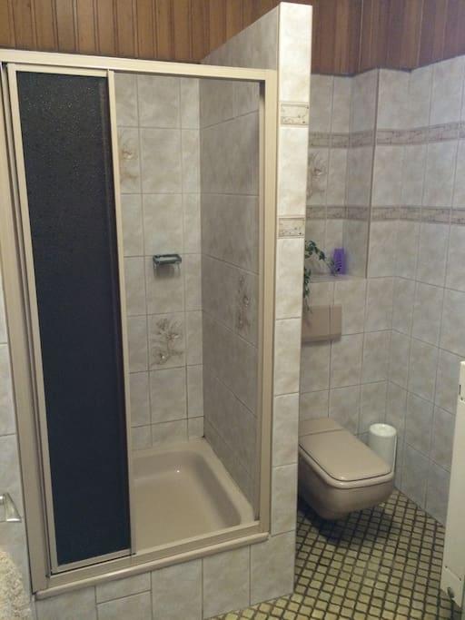 WC, Dusche und Badewanne