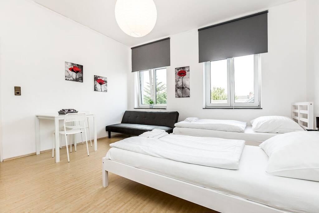 Wohnschlafzimmer mit 2 Einzelbetten/ living- and sleepingroom with two single beds