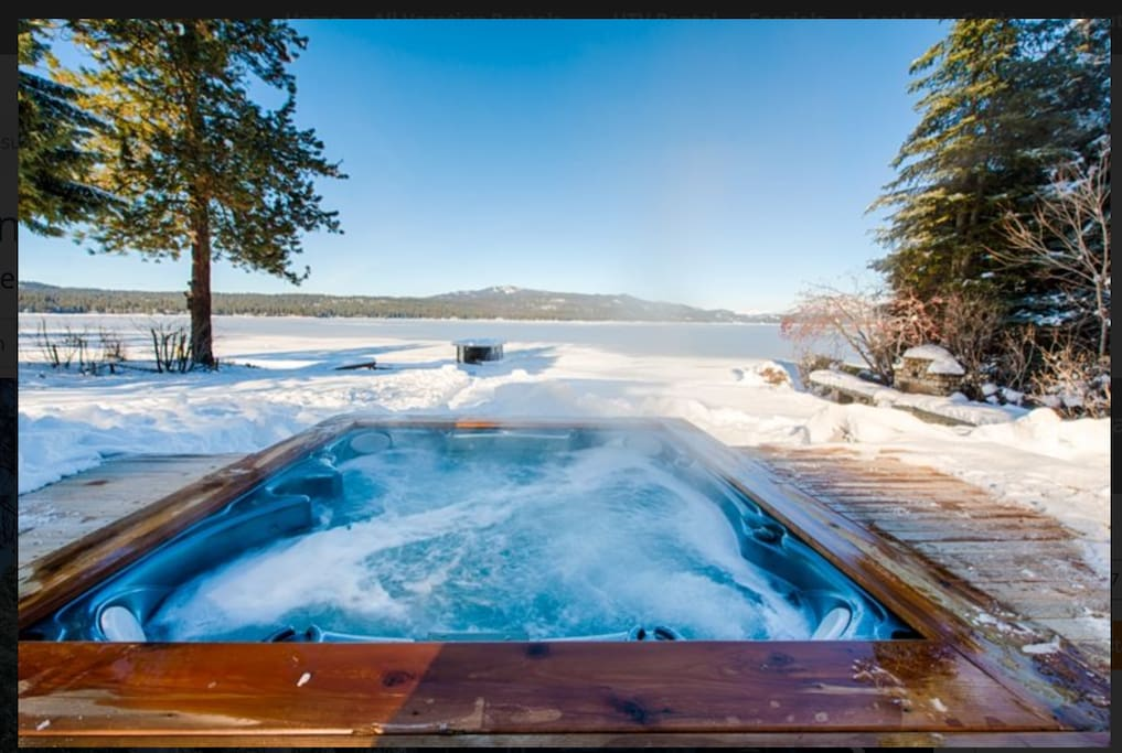 the view of Lake View Bowl at Brundage, from the sunken hot tub