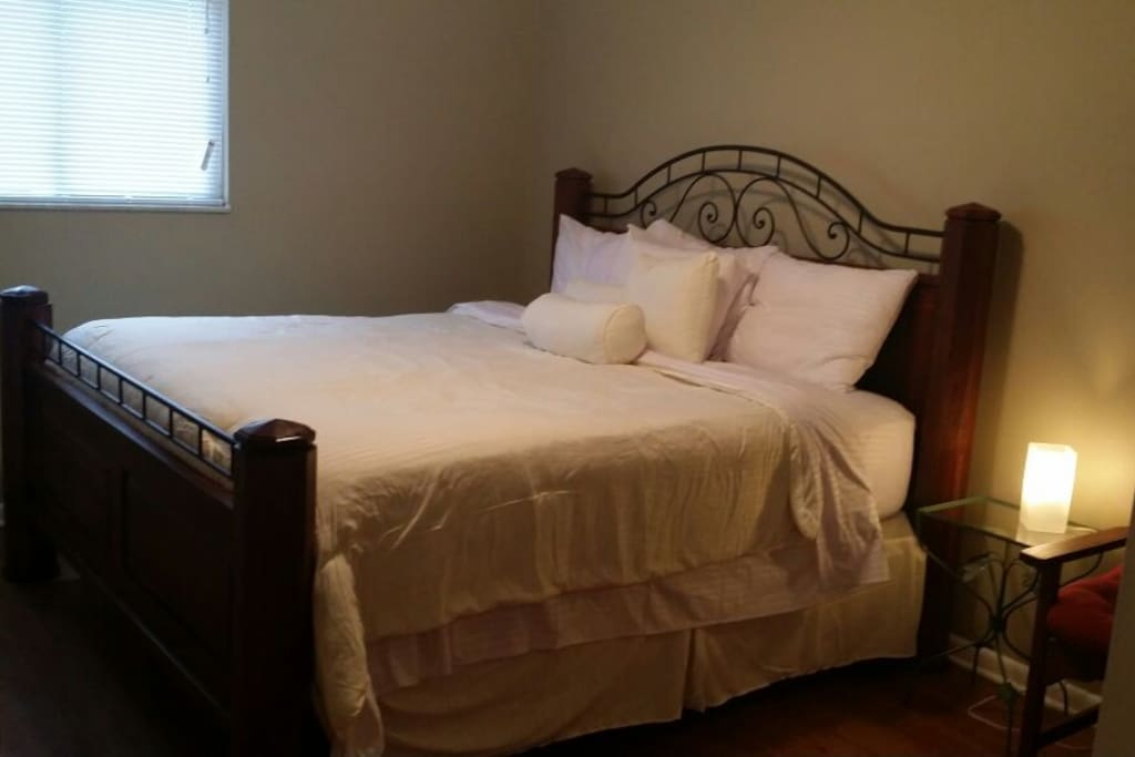 King sized bed in large separate bedroom.  Rare large size for rentals.