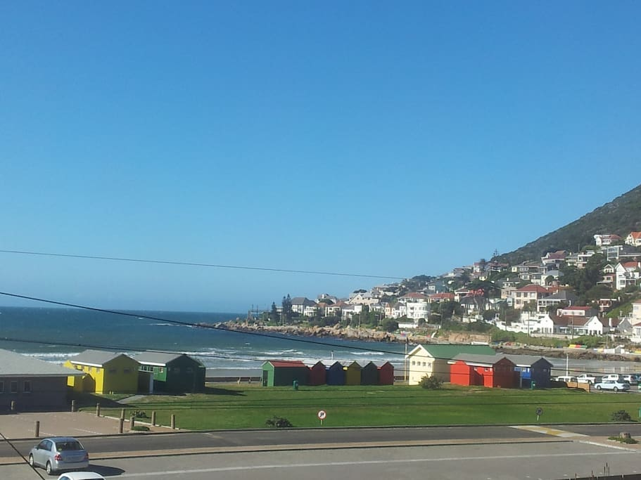 Another spectacular view of the beach and the cute, multi-colour change rooms.