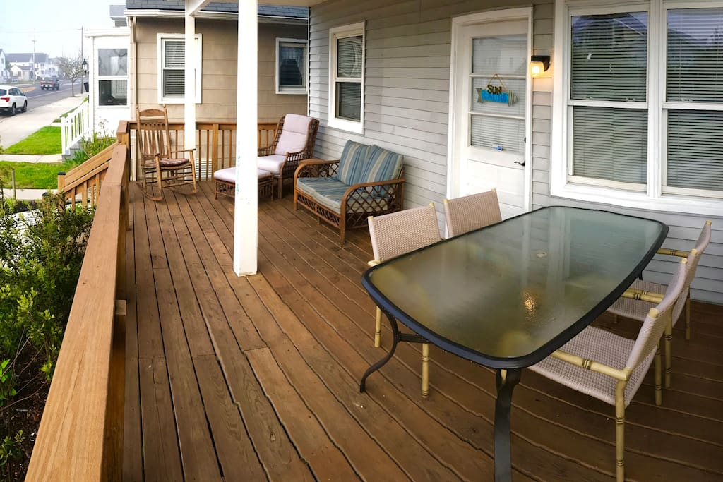 Spacious deck to relax in lounge chairs or eat a meal and enjoy a nice ocean breeze. You'll also have front row seats to our wispy, seaside garden.