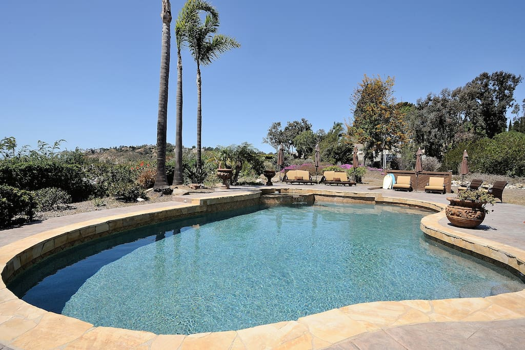 Custom pebbletech pool with spa.